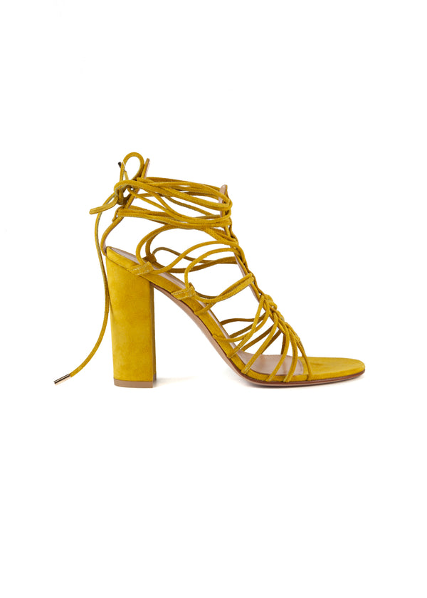 Gianvito Rossi Womens 105 Yellow Suede Sandals - Tribeca Fashion House