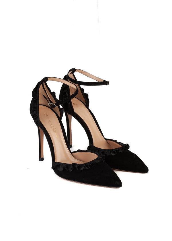 Gianvito Rossi Womens 105 Black Velvet D'Orsay Pointed Toe Pumps - ACCESSX