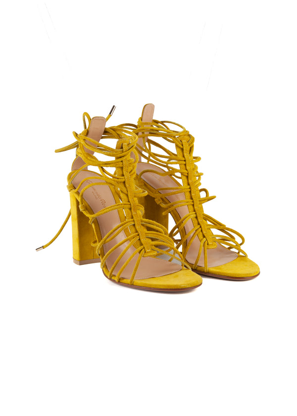 Gianvito Rossi Womens 105 Yellow Suede Sandals - ACCESSX