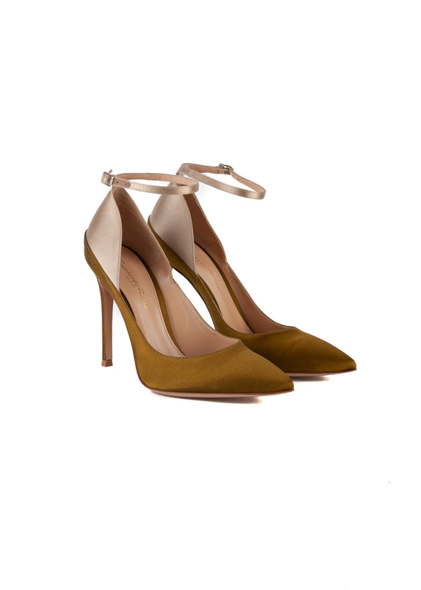 Gianvito Rossi Womens 105 Olive & Silver Pumps - Tribeca Fashion House