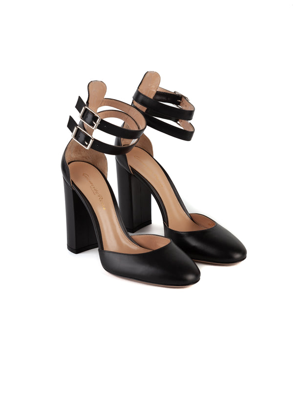 Gianvito Rossi Womens 105 Black Leather Pumps - Tribeca Fashion House