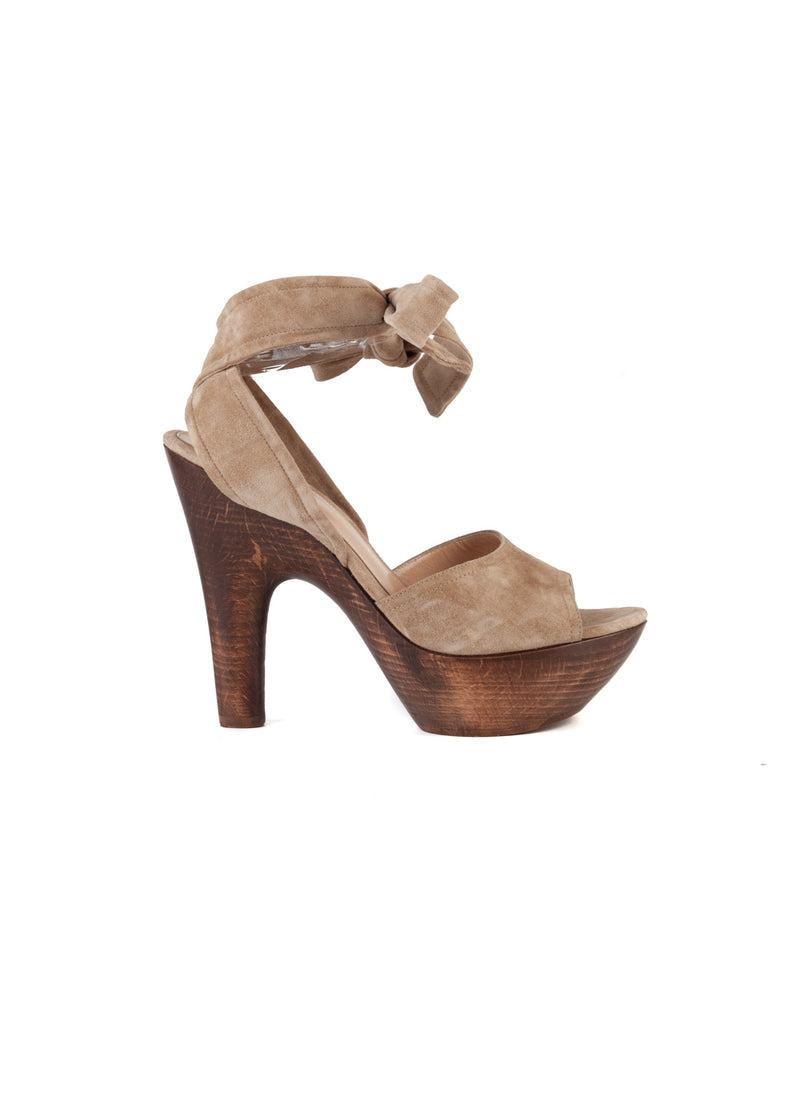 Gianvito Rossi Womens 120 Light Brown Suede Tie Knot Platform Sandals - ACCESSX