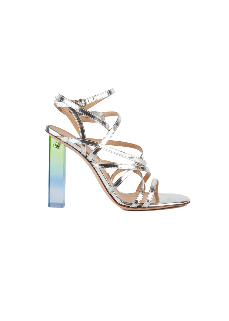 Gianvito Womens 105 Silver Patent Leather Strappy PVC Heeled Sandals - ACCESSX