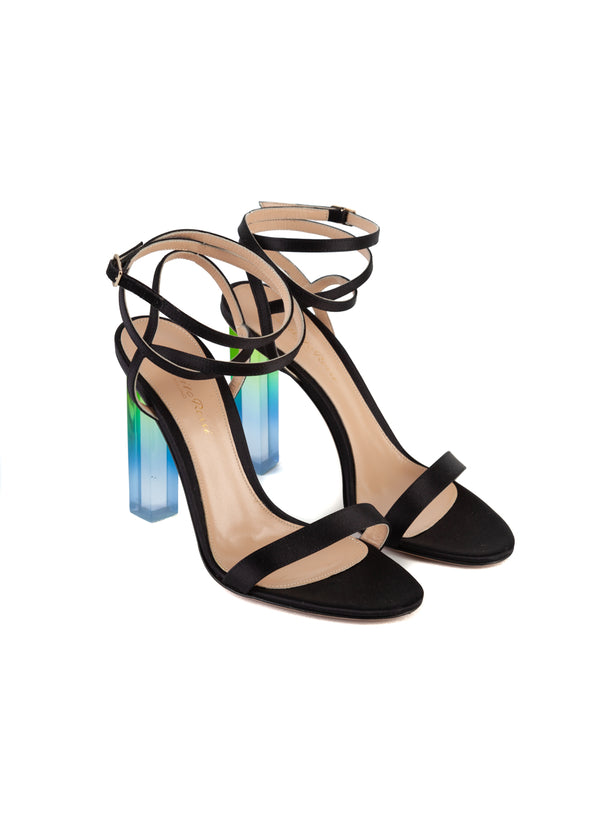 Gianvito Rossi Womens 105 Black Satin Strappy Ombre PVC Heeled Sandals - Tribeca Fashion House