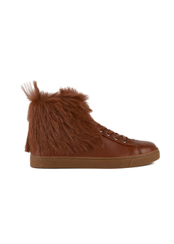 Gianvito Rossi Womens Brown Fur Covered High Top Sneakers - ACCESSX