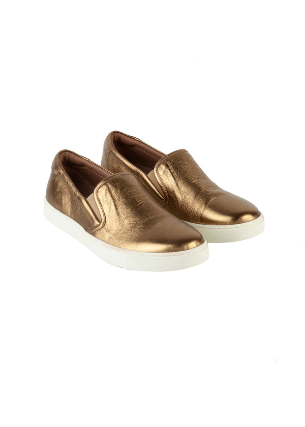 Gianvito Rossi Womens Gold Foiled Venice Slip On Sneakers - ACCESSX