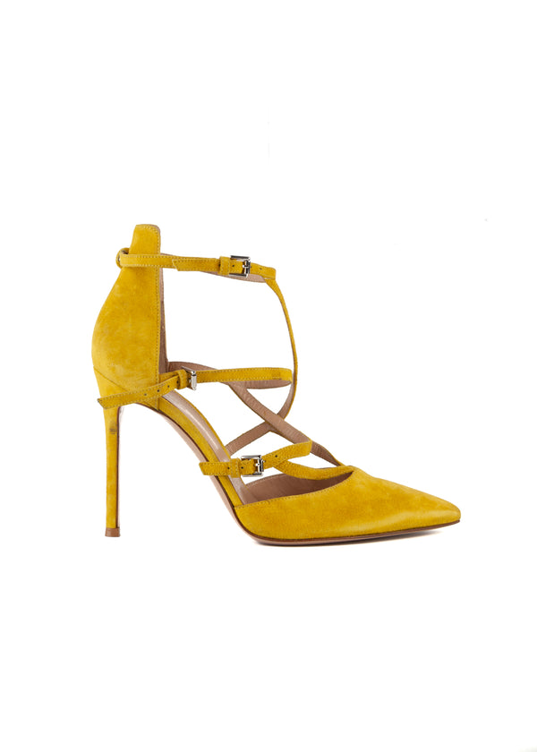 Gianvito Rossi Womens 105 Yellow Suede Pumps - Tribeca Fashion House