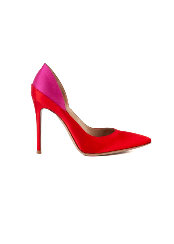 Gianvito Rossi Womens 105 Red & Pink Satin Color Blocked Pointed Toe Pumps - ACCESSX