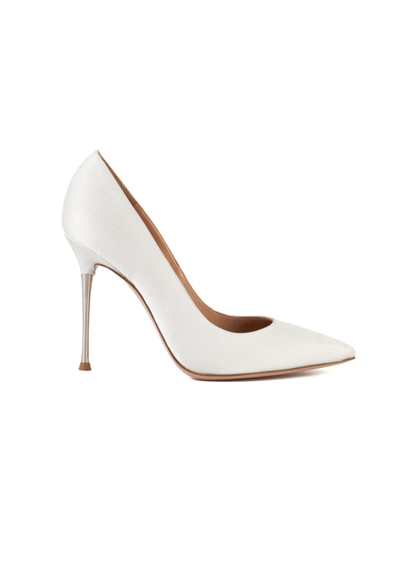 Gianvito Rossi Womens 105 White Twill Pointed Toe Metal Heeled Pumps