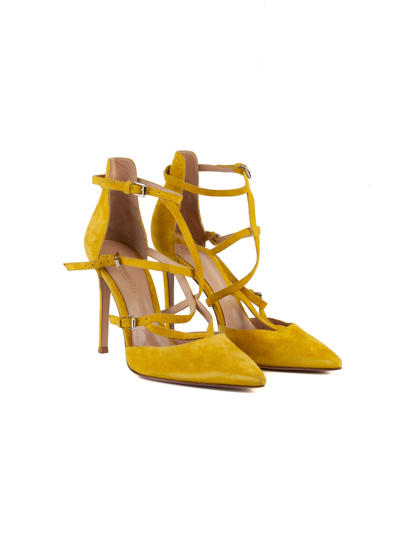 Gianvito Rossi Womens 105 Yellow Suede Pumps - ACCESSX