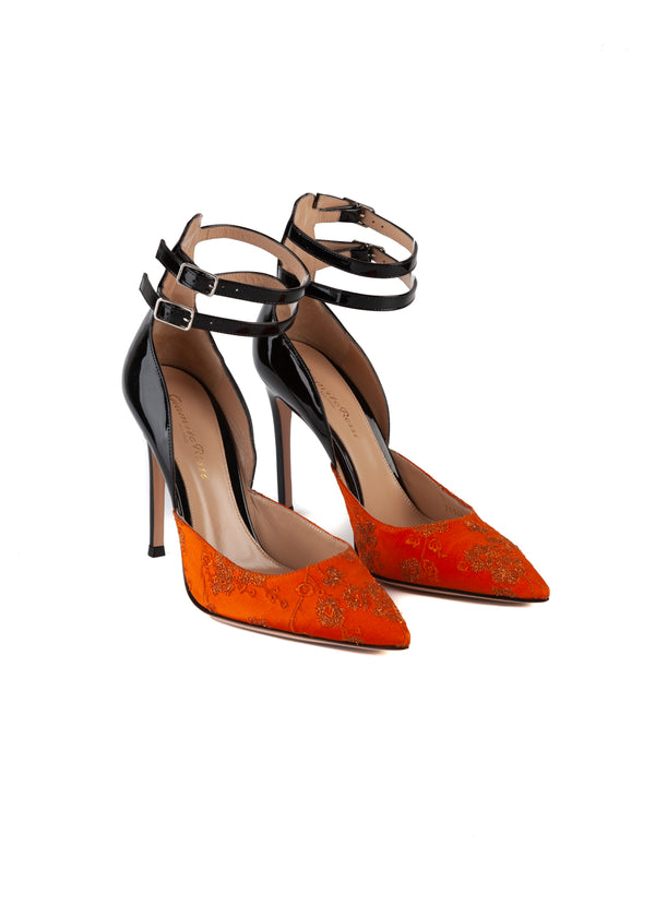 Gianvito Rossi Womens 105 Orange Embroidered Satin Patent Leather Pumps - ACCESSX