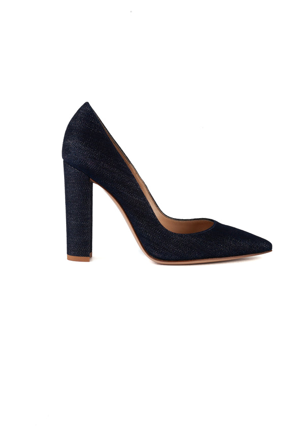 Gianvito Rossi Womens 105 Blue Denim Pumps - ACCESSX