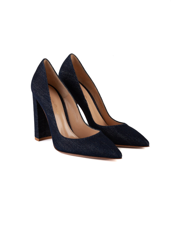 Gianvito Rossi Womens 105 Blue Denim Pumps - Tribeca Fashion House