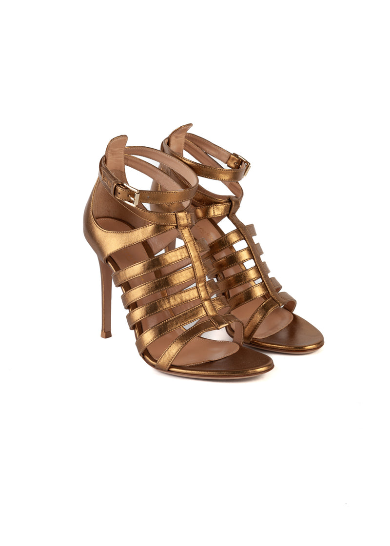 Gianvito Rossi Womens 105 Gold Strappy Sandals - ACCESSX