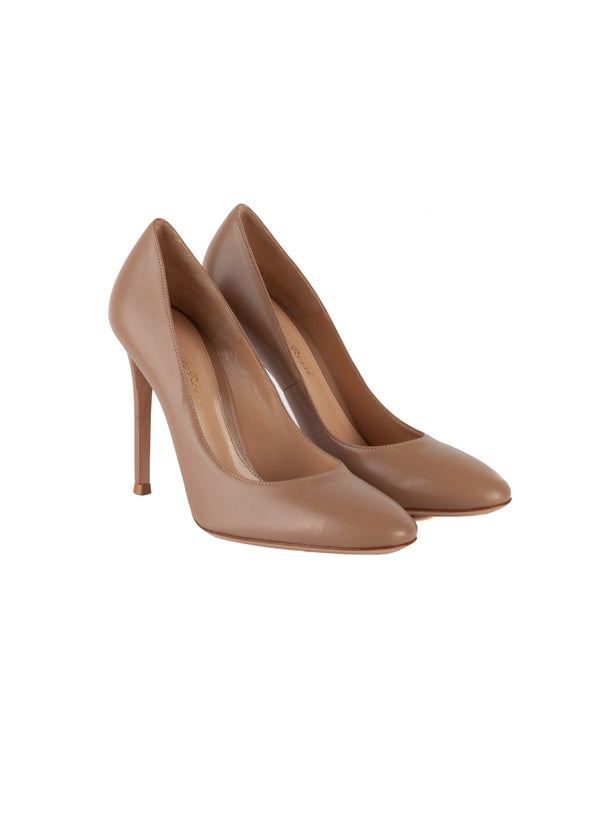 Gianvito Rossi Womens 105 Nude Leather Pumps - Tribeca Fashion House