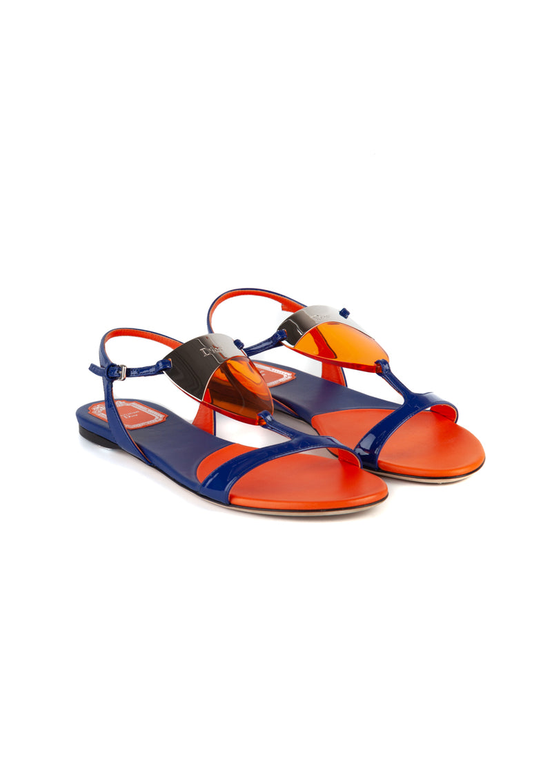Dior Womens Ink Blue & Orange Solar Sandals - ACCESSX