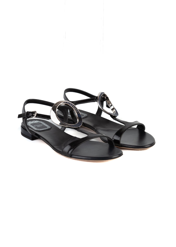 Dior Womens Black Patent Leather Sandals - ACCESSX