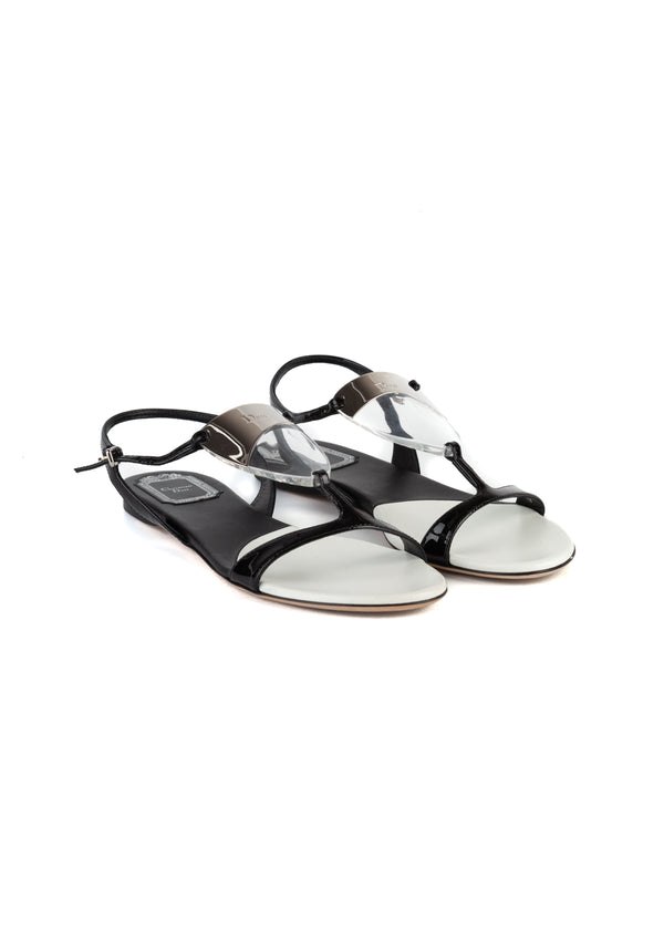 Dior Womens Black & White Solar Sandals - ACCESSX