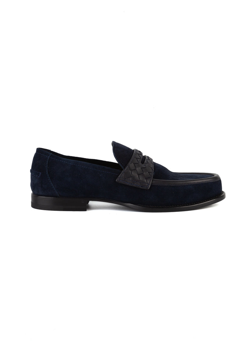 Bottega Veneta Mens Navy Suede Intrecciato Slip-On Loafer - ACCESSX