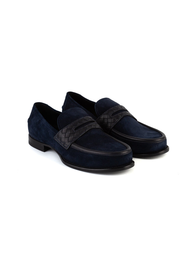 Bottega Veneta Mens Navy Suede Intrecciato Slip-On Loafer - Tribeca Fashion House