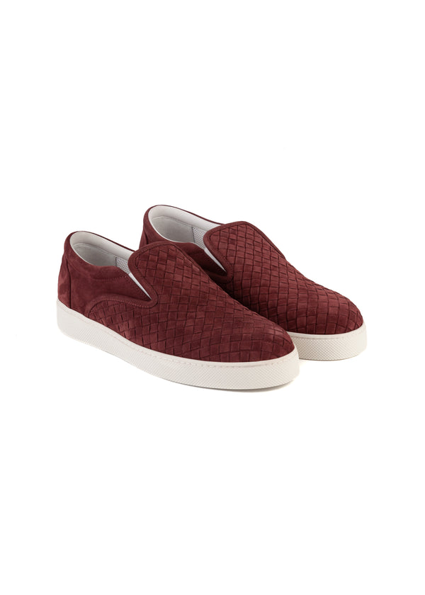 Bottega Veneta Mens Burgundy Dodger Slip-On Suede Sneakers - Tribeca Fashion House