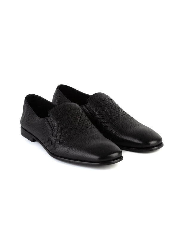 Bottega Veneta Mens Black Leather Intrecciato Slip-On Loafer - Tribeca Fashion House
