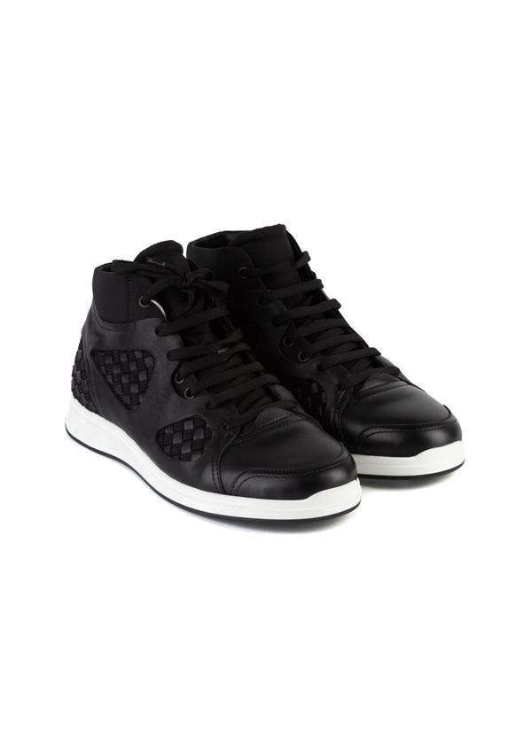 Bottega Veneta Mens Black Leather Hi-Top Intrecciato Sneaker - Tribeca Fashion House