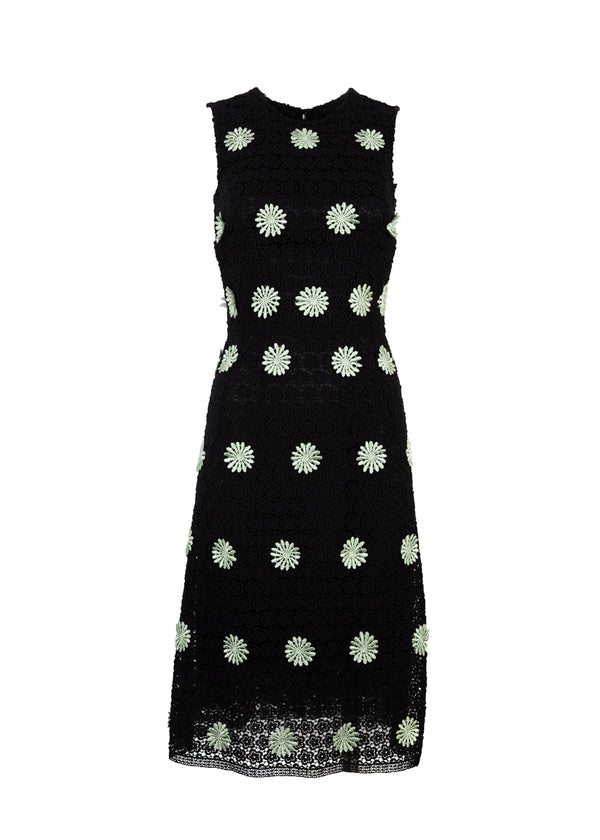 Dolce & Gabbana Womens Black Mid Length Lace Floral Dress - Tribeca Fashion House