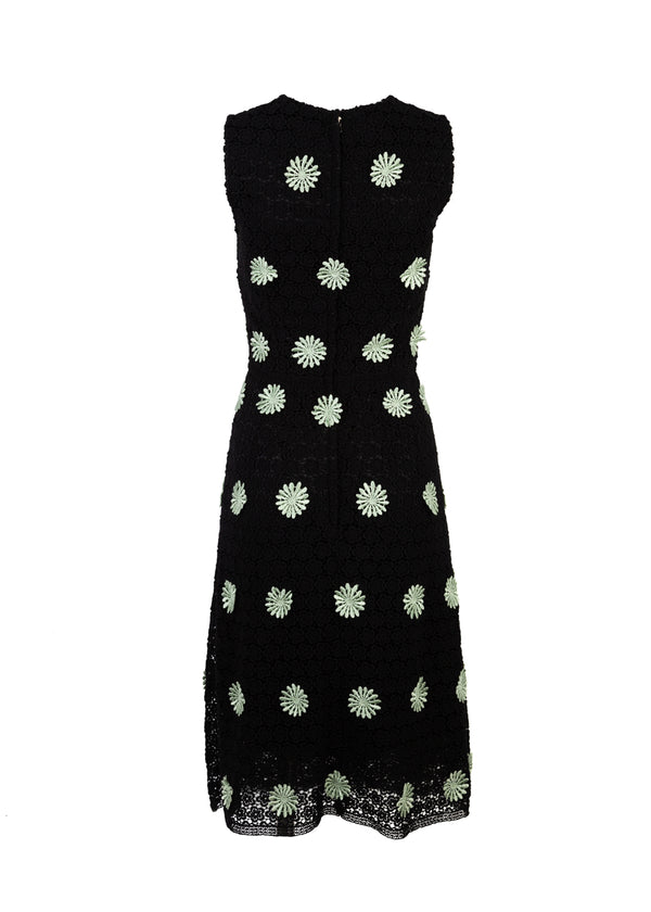 Dolce & Gabbana Womens Black Mid Length Lace Floral Dress - ACCESSX
