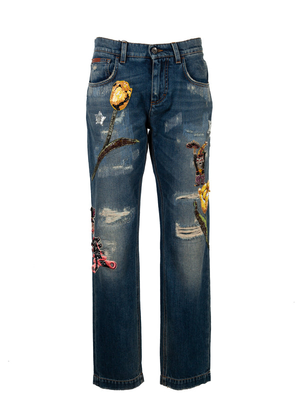 Dolce & Gabbana Womens Blue Denim Boyfriend Fit Floral Patch Jeans - ACCESSX