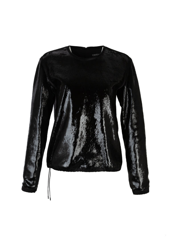 Tom Ford Womens Black Sliced Patent Leather Tuxedo Shirt - Tribeca Fashion House