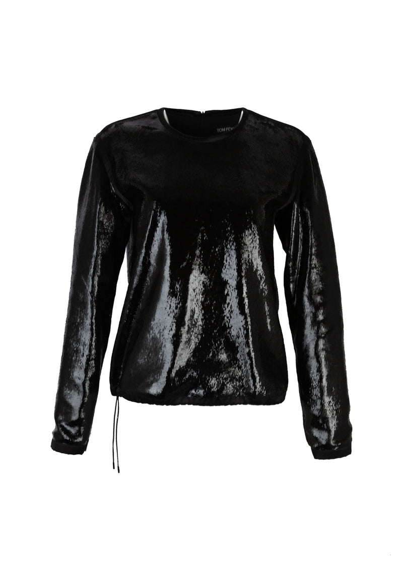 Tom Ford Womens Black Sliced Patent Leather Tuxedo Shirt - ACCESSX