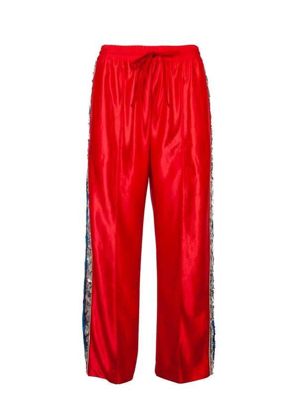 Gucci Womens Red Sequin Striped Track Trouser - ACCESSX