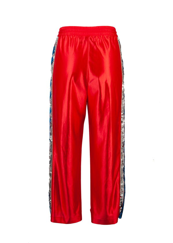 Gucci Womens Red Sequin Striped Track Trouser - Tribeca Fashion House