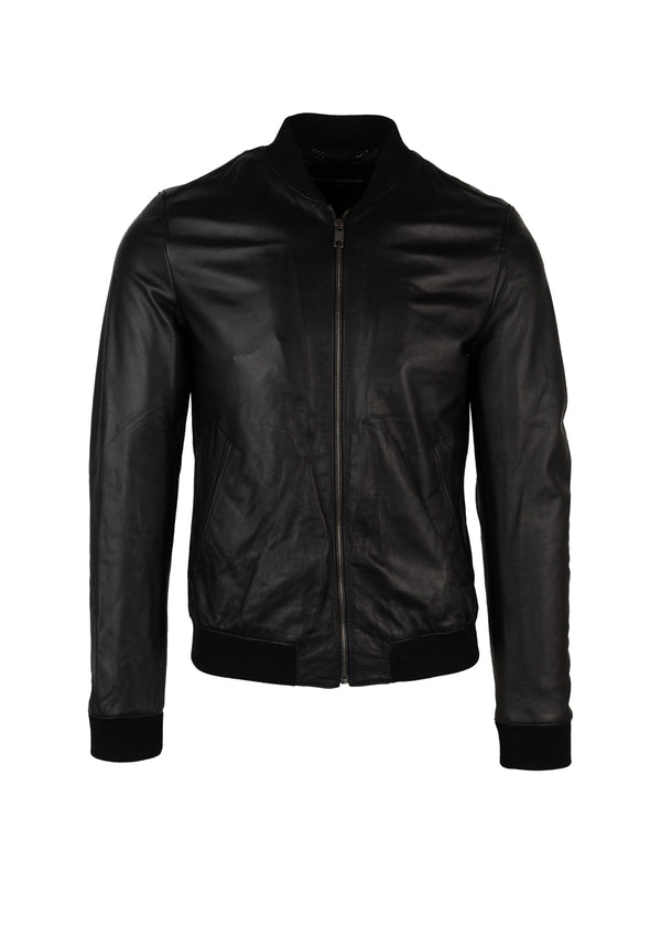 Dolce & Gabbana Mens Black Leather Bomber Jacket - ACCESSX