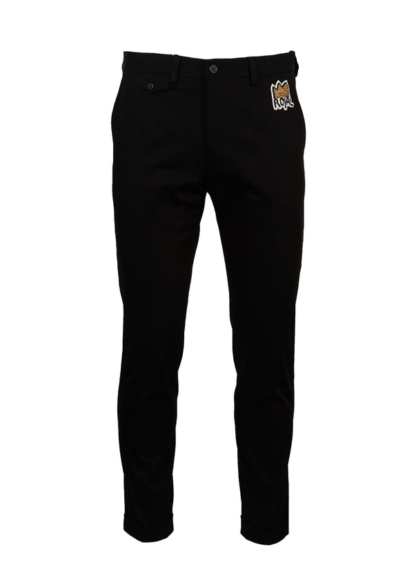 Dolce & Gabbana Mens Black Slim Fit Royal Trousers - ACCESSX