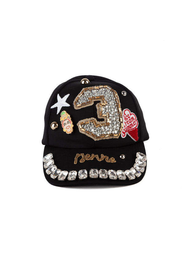Dolce & Gabbana Womens Black Crystal Embellished Studded Wool Baseball Cap - Tribeca Fashion House
