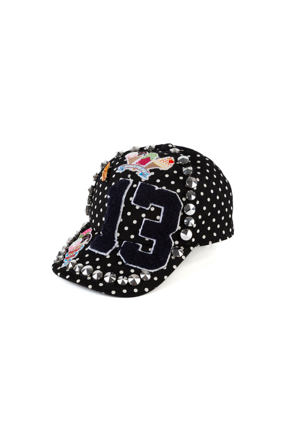 Dolce & Gabbana Womens Black Studded Polka Dot Baseball Cap - Tribeca Fashion House