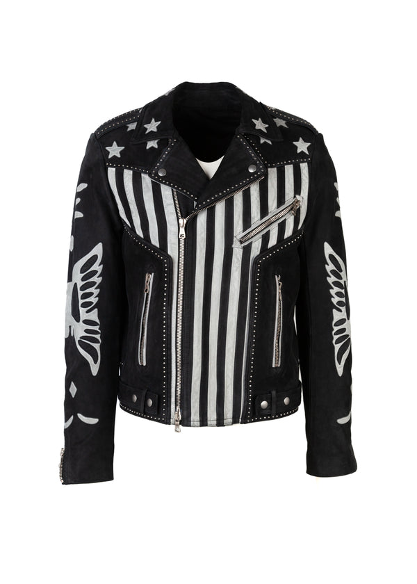 Balmain Mens Black American Flag Leather Biker Jacket - ACCESSX