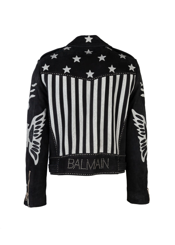 Balmain Mens Black American Flag Leather Biker Jacket - Tribeca Fashion House