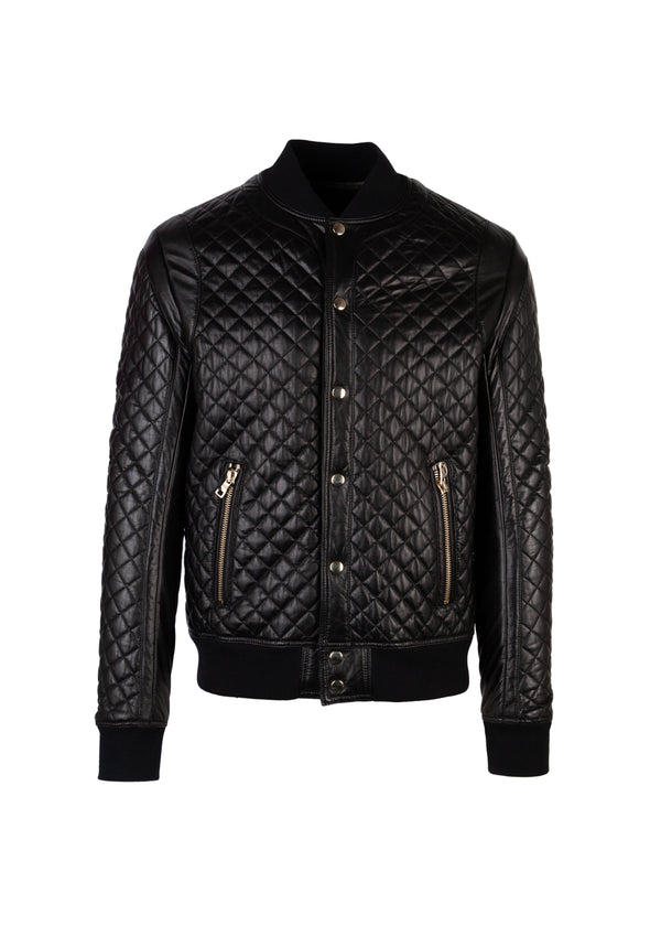 Balmain Mens Black Quilted Bomber Jacket - ACCESSX