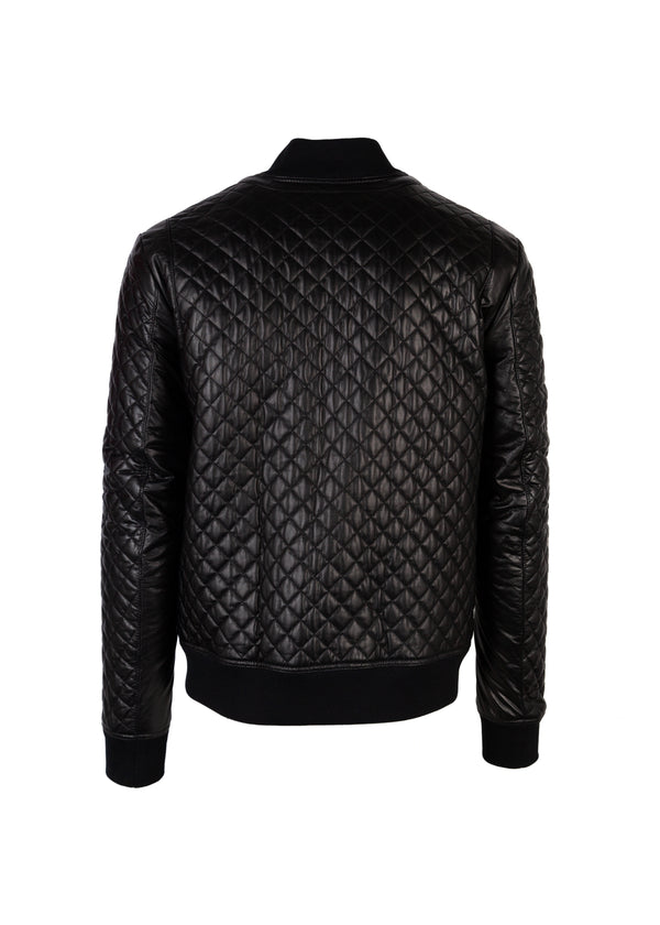 Balmain Mens Black Quilted Bomber Jacket - Tribeca Fashion House