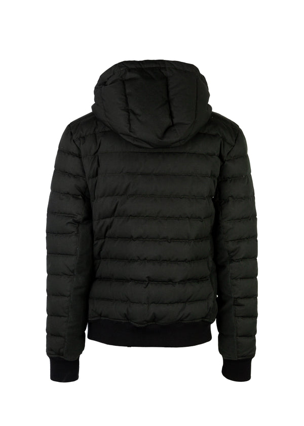 Balmain Mens Green Quilted Hooded Down Coat - ACCESSX