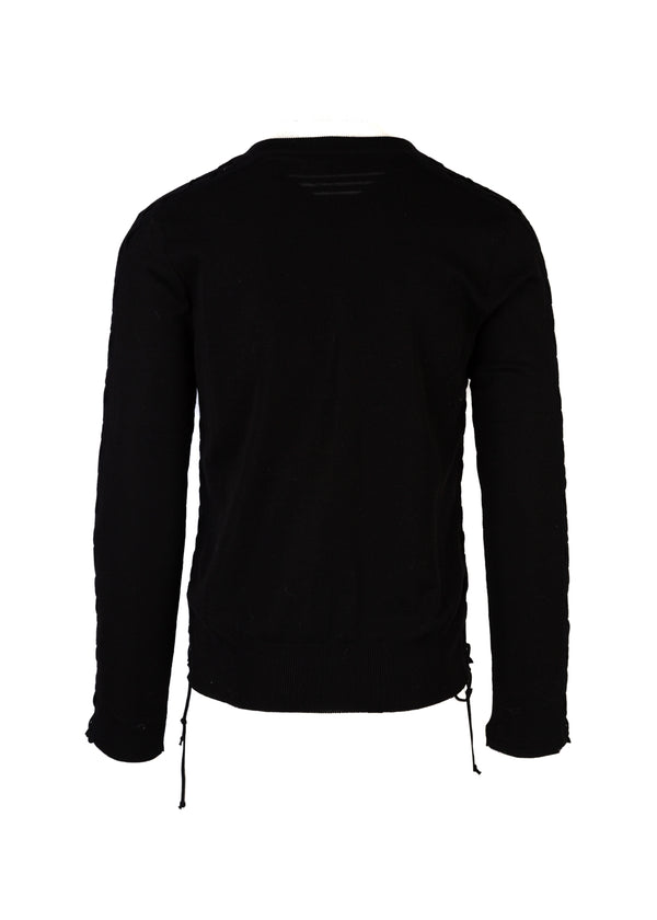 Balmain Mens Black V-Neck Sweater - ACCESSX