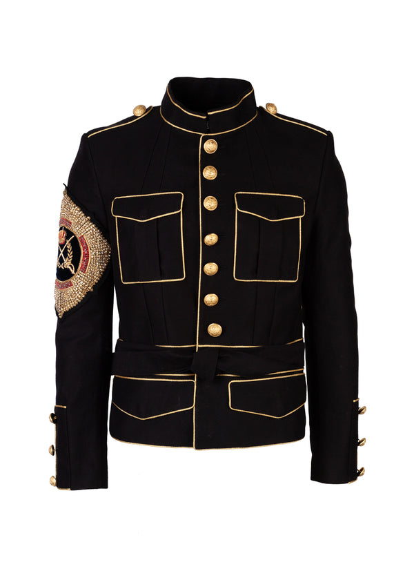 Balmain Mens Black Military Embellished Jacket - Tribeca Fashion House