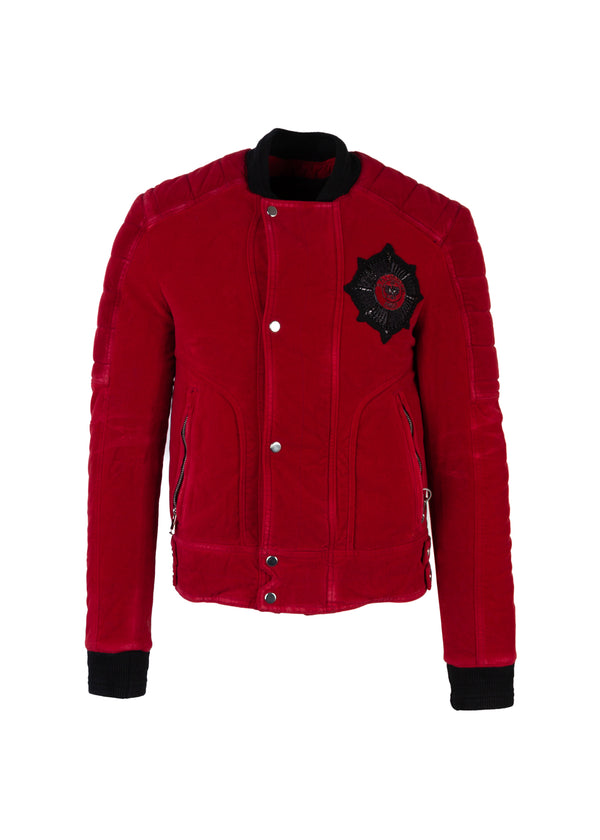 Balmain Mens Red Velvet Badge Embellished Bomber Jacket - Tribeca Fashion House