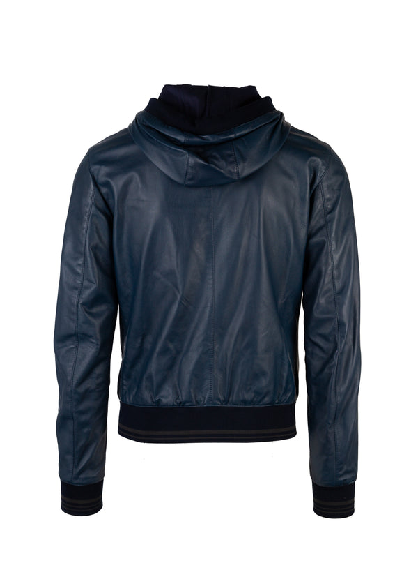 Dolce & Gabbana Mens Blue Palm & Car Patch Hooded Leather Jacket - Tribeca Fashion House