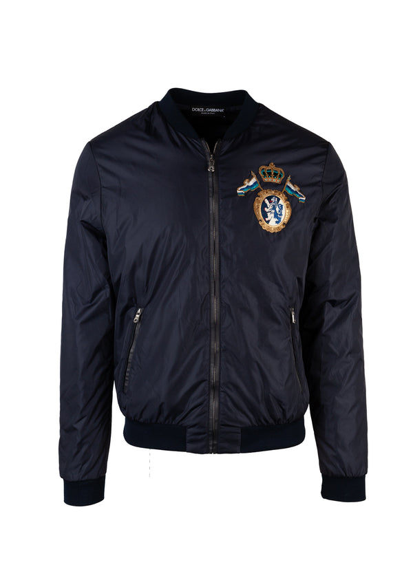Dolce & Gabbana Mens Navy Coat Of Arms Patch Bomber Jacket - ACCESSX