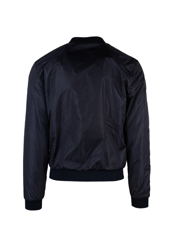 Dolce & Gabbana Mens Blue Nylon Crown Patch Bomber Jacket - Tribeca Fashion House