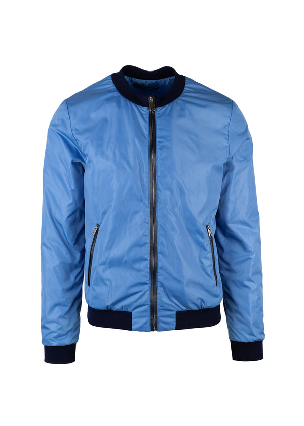 Dolce & Gabbana Mens Light Blue Nylon Bomber Jacket - ACCESSX
